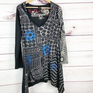 D245 DESIGUAL long sleeve, v-neck dress